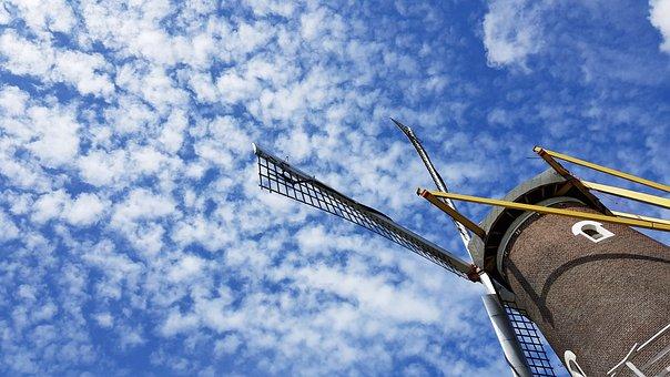 Sheep Clouds, Heaven, Blue Sky, Mill, Wind Mill