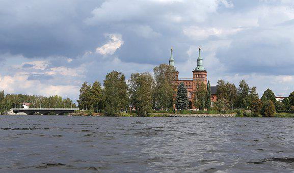 Church, Bridge, Lake, Architecture, Finnish, Sastamala
