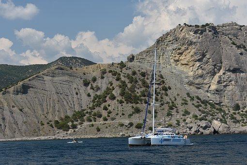 Catamaran, Ship, Sea, Mountains, Trees, Landscape, Sky