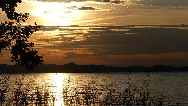 Sunset, Light, Nature, Landscape, Water, Lake Balaton