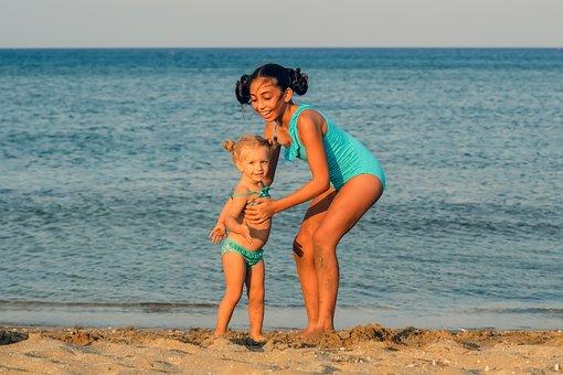 Sisters, Love, Beach, Seaside, Girls, Family, Children