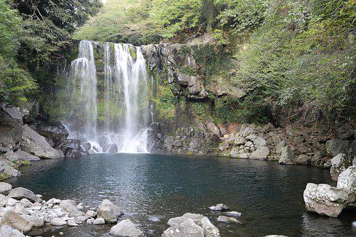 Waterfall, River, Scenery, Flow, Nature, Water
