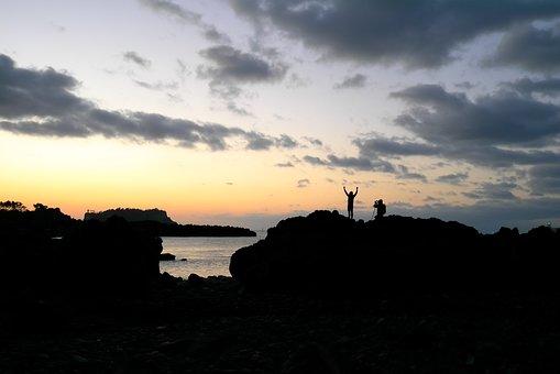 Sunrise, Sea, Island, Morning, People, Glow