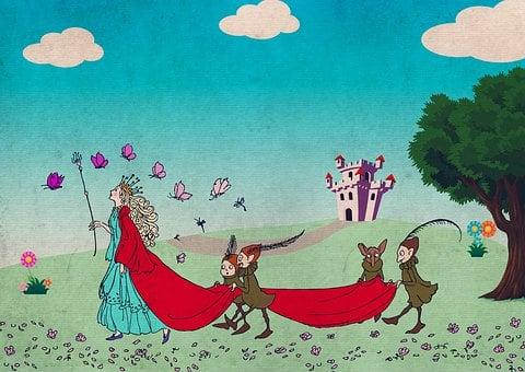 Queen, Elves, Castle, Knight's Castle, Vintage, Fantasy