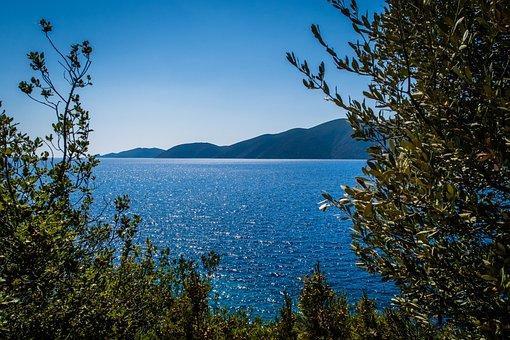 Sea, Island, Greece, Trees, Green, Blue, Relaxation