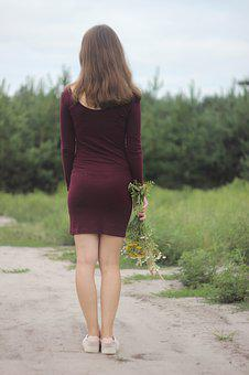 The Way, Road, Nature, Spin, Girl, Woman, Dress