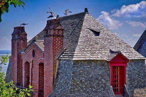 House, Architecture, Brittany, Roof, Slate, Fireplace