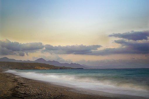 Landscape, Beach, Sunset, Sea, Waves, Sand, Sky, Clouds