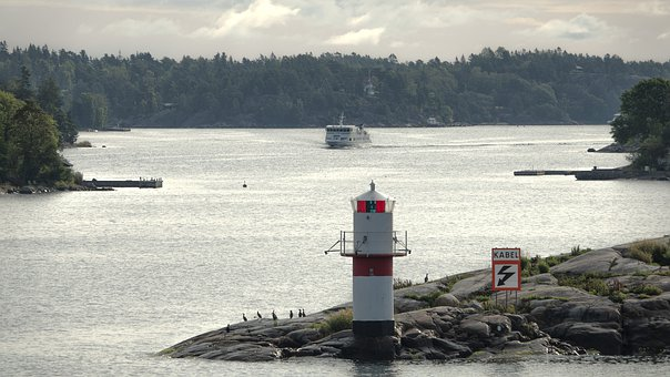 Lighthouse, Island, Sea, Baltika, Ship, Birds, Sky