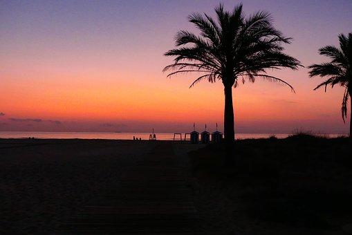 Sunset, Beach, Amancecer, Sea, Dusk, Sky, Landscape
