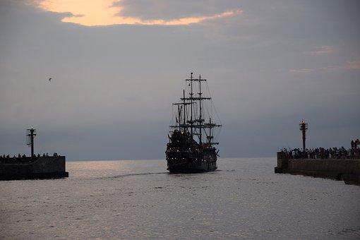 Port, Sea, Ship, Sky, The Coast, Summer, In The Evening