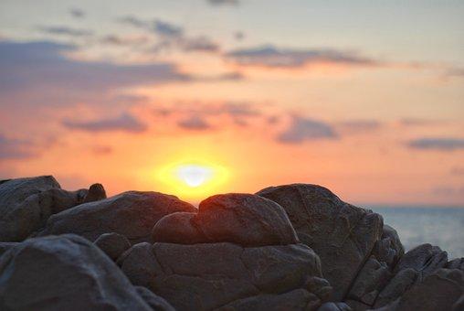 Dawn, Rock, Spring Water, Sky, Nice