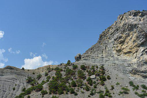 Rock, Trees, Background, Mountain, Landscape, Sky
