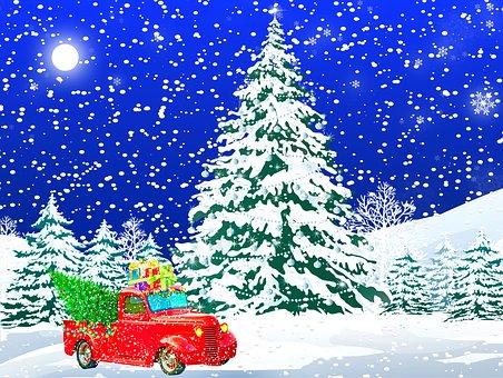 Christmas Car, Truck, Winter Scenery, Snow, Retro, Moon