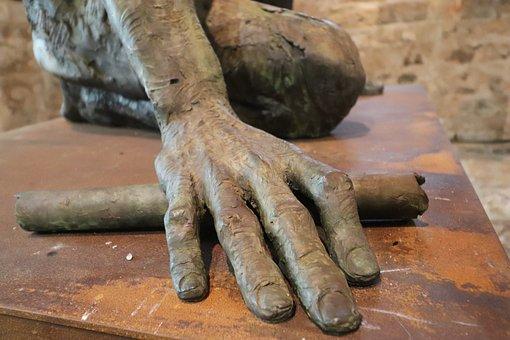 Sculpture, Statue, Resin, Metal, Detail, Hand, Art