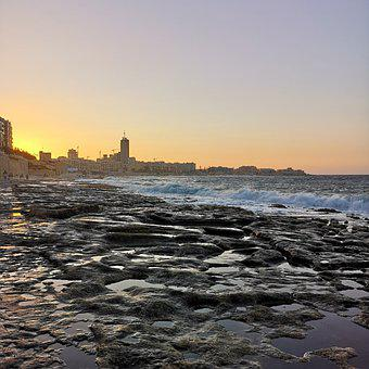 Malta, Sliema, Sunset, Beach, Beautiful