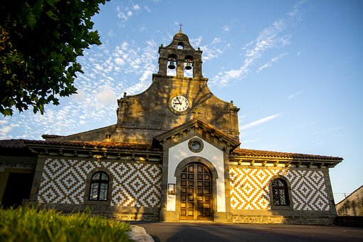 Church, Sunset, Spain, Facade, Village, Architecture