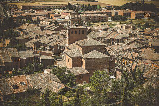 Ayllón, Segovia, Roofs, People, Houses, Architecture