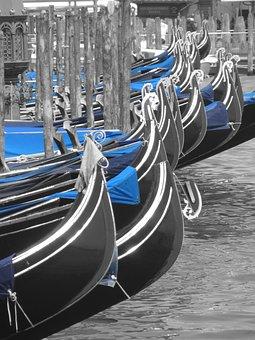 Venice, Gondolas, Black And White, Blue, Boats, Italy