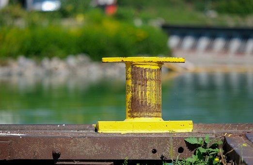 Bollard, Port, Pier, Mooring, Yellow, Dew Fix, Water