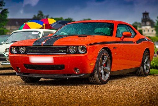 Dodge Challenger Srt8, Muscle Car, Rain, Car Meet