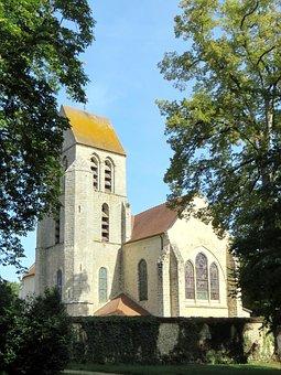 Chamarande, Church, Bell Tower, Village, Landscape