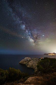 Night, Dark, Galaxy, Sea, Coast, Universe, Astronomy