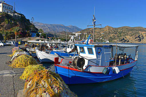 Greece, Crete, Agia Galini, Blue, Boat, Fishing