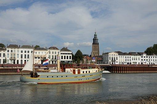 Hanseatic City, Zutphen, City, River, Ijssel, Steamer