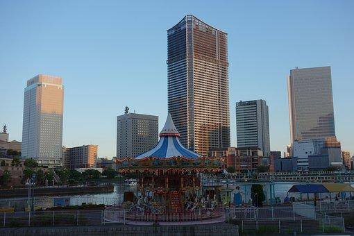 Yokohama, Minatomirai, Japan, Merry-go-round, Sunset