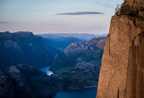 Norway, Preikestolen, Landscape, Abyss