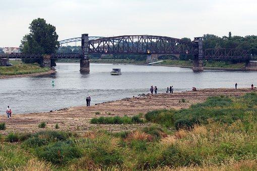 Magdeburg, Elbe, Low Water, Saxony-anhalt, River, View