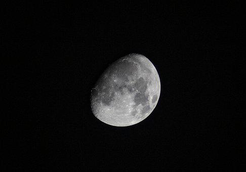Moon, Night, Moonlight, Luna, Starry Sky, Dark, Nature