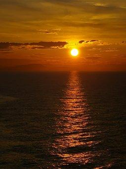 Sunset, Sea, Sky, Water, Ocean, Clouds, Dusk, Evening