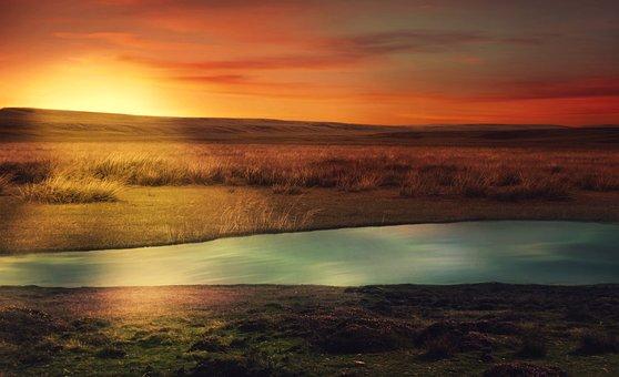 Landscape, River, Prairie, Hill, Sunrise, Sunset