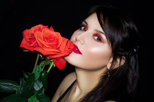 Girl, Roses, Flowers, Red, Beauty, Woman, Rose, Model