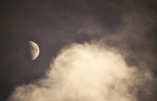 Moon, At Night, Cloud, Sky, Dark, In The Evening, Lying