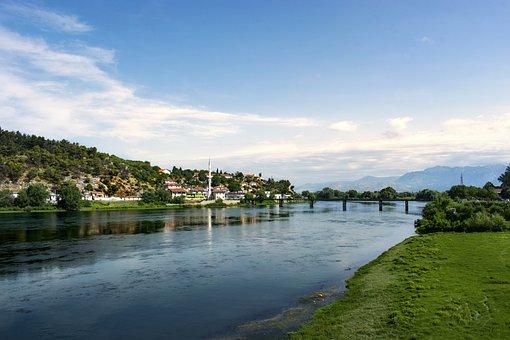 Albania, Landscape, River, Bridge, Sky, Water, Nature