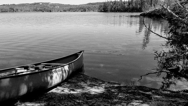 Canoe, Lake, Trees, Canada, Water, Nature, Kayaking
