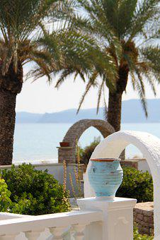 Sitia, Crete, View, Sea, Pot, Palm, White, Garden