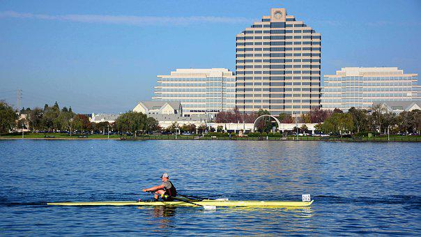 Sports, Foster City, Rowing, Single Scull, Lake