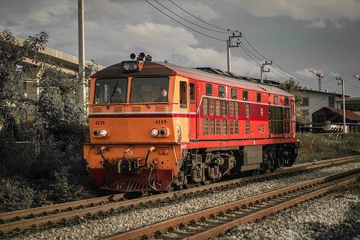 Train, Evening, Travel, Rail Tracks
