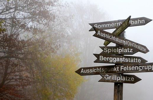 Fog, Directory, Decisions, Foggy, Away, Direction