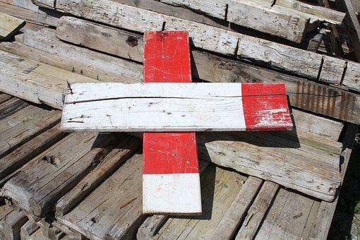 Barrier, Battens, Wood, Timber, Red, White, Mark