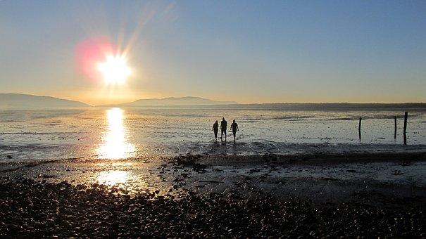Bay, Mud Flat, Sunset, Islands, Bellingham, People