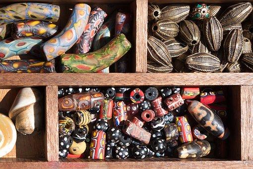 Beads, Glass Beads, Bone, Stones, Glass Mosaic