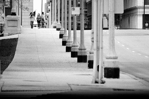 City Corner, Landscape, Black And White, Street, People