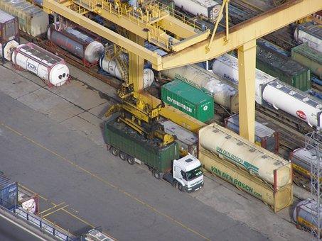 Container, Container Crane, Spreader, Envelope, Truck