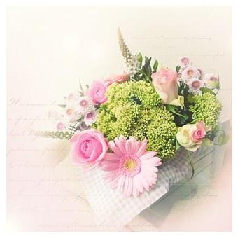 Bouquet, Vintage, Pink, Pastel, Romantic, Country House