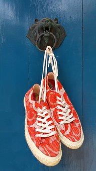Shoes, Casual, Orange, Colorful, Deep Blue, Door Knob